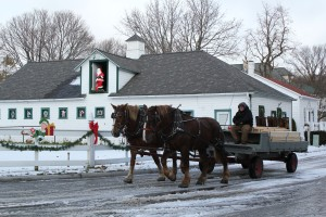Horses Pulling Wagon in Winter at Mackinac Island