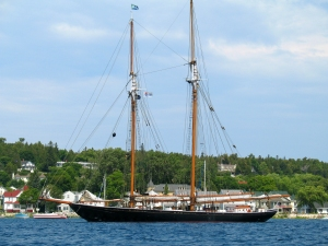 Huge Sailboat at Mackinac Harbor