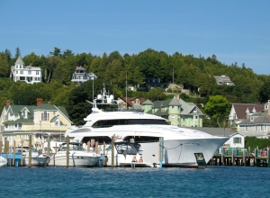 Large yacht at Mackinac harbor