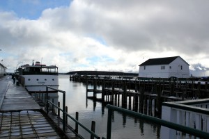 View of coal dock in winter